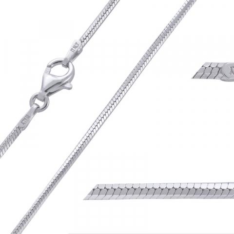Simpel Schlangenhalskette aus rhodiniertem Silber 38 cm x 1,6 mm