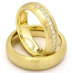 Trauringe aus 14 Karat Gold 0,20 ct - set