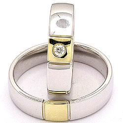 Trauringe aus 14 Karat Gold- und Weißgold 0,05 ct - set