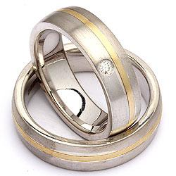Trauringe in Silber und Gelbgold 0,035 ct