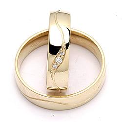 Modernen trauringe aus 9 Karat Gold 0,036 ct - set
