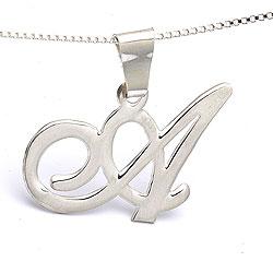 Fein initial Namenskette mit Anhänger in Silber