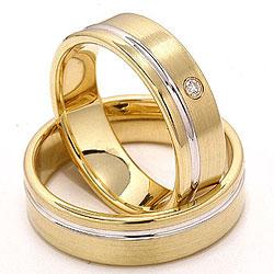 Matter und polierter zweifarbig trauringe aus 14 Karat Gold 0,025 ct - set