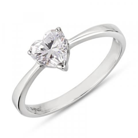 fein Herz Ring aus rhodiniertem Silber