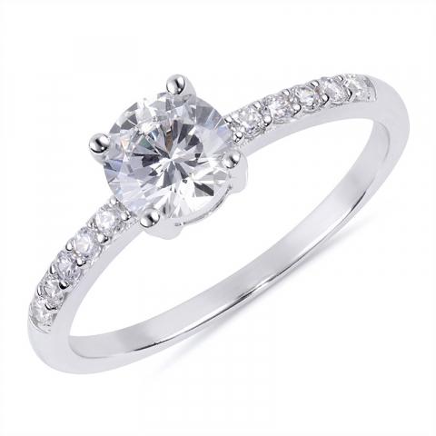 Runder weißem Zirkon Ring aus rhodiniertem Silber