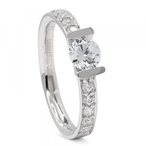 Modernen Zirkon Ring aus rhodiniertem Silber