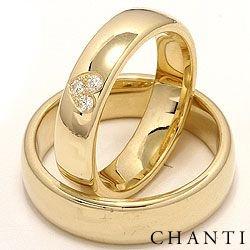 Breite Herz trauringe aus 14 Karat Gold 0,075 ct - set