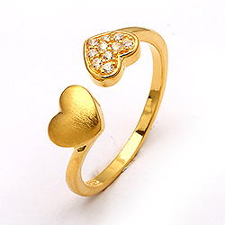 Herzen weißem zirkon ring aus vergoldetem sterlingsilber