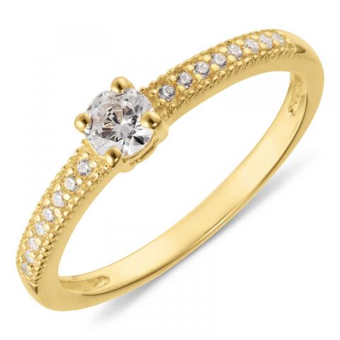 Runder weißem zirkon ring aus vergoldetem sterlingsilber