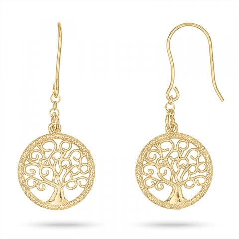 lange Lebensbaum Ohrringe in vergoldetem Silber