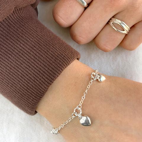 Herz Armband aus Silber und Anhänger aus Silber