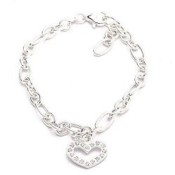 Zirkon Armband aus Silber und Herzförmiger Anhänger aus Silber