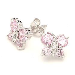 Schmetterlinge Zirkon Ohrringe in Silber