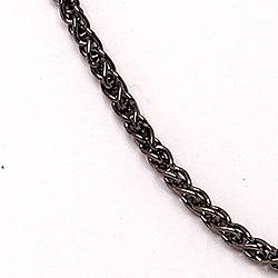 BNH Weizenhalskette aus schwarzes rhodiniertes Silber 60 cm x 1,3 mm