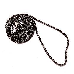 BNH Weizenhalskette aus schwarzes rhodiniertes Silber 80 cm x 1,3 mm