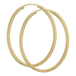 40 mm ovalen Kreole in 14 Karat Gold