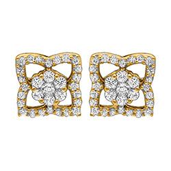 Viereckigem Diamant Ohrstecker in 14 Karat Gold mit Diamanten