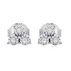 Trendy  diamant ohrstecker in 14 karat weißgold mit diamanten