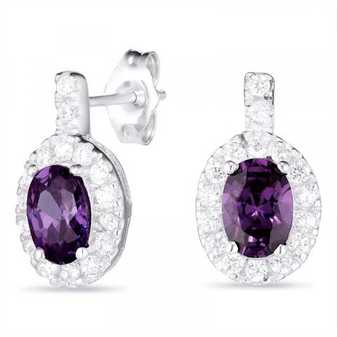 Ovalen violettem Ohrringe in Silber