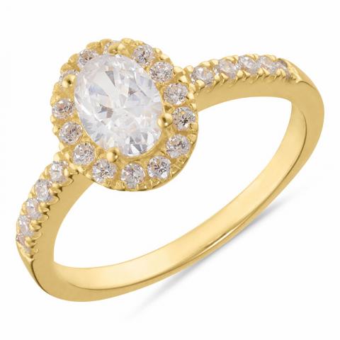 Ovaler Ring aus vergoldetem Sterlingsilber
