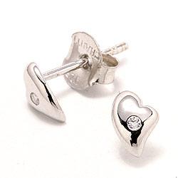 Herz weißen Zirkon Ohrstecker in Silber