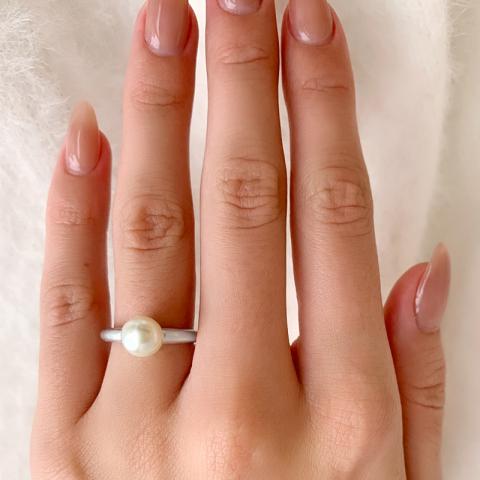 Schön Perle Ring aus Silber
