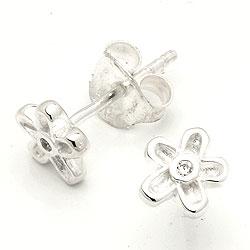 Kleinen Blumenohrringe in Silber