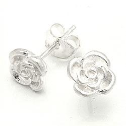Feinen Rose Ohrringe in Silber