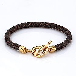 Braunem Armband aus Leder und Herzförmiger Anhänger aus vergoldetem Sterlingsilber