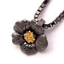 Dark Harmony Blumen Blumenanhänger aus schwarzes rhodiniertes Silber und vergoldetem Sterlingsilber