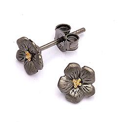 Dark Harmony Blumen Blumenohrringe in schwarzes rhodiniertes Silber