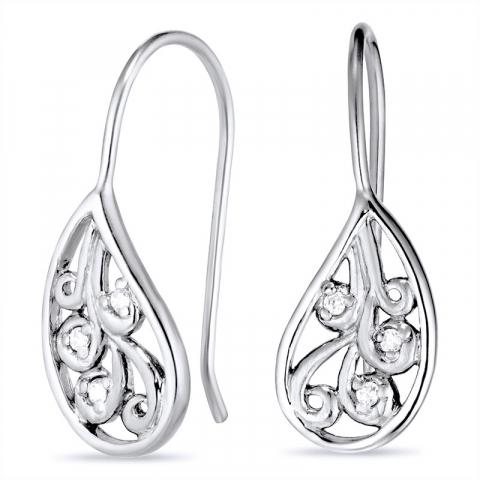 Tropfenförmigen Ohrringe in schwarzes rhodiniertes Silber