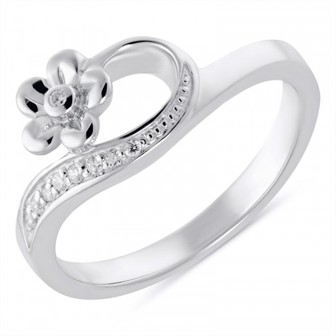 Blumen Ring aus rhodiniertem Silber