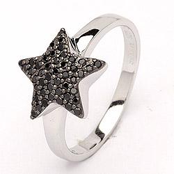 Stern Ring aus rhodiniertem Silber