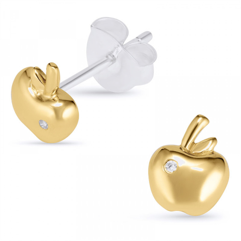 Eleganten Apfel Ohrstecker in Silber mit vergoldetem Sterlingsilber
