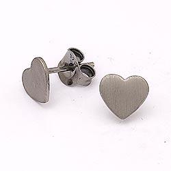 Eleganten Herz Ohrstecker in schwarzes rhodiniertes Silber