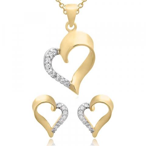Herz set mit ohrringe und halskette in vergoldetem sterlingsilber weißem zirkon