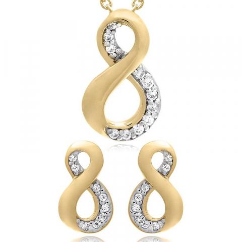 Infinity set mit ohrringe und halskette in vergoldetem sterlingsilber weißem zirkon