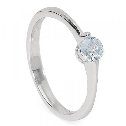Preiswert runder blauem Ring aus Silber