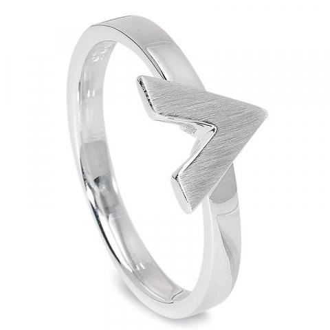 Gebürsteter V Ring aus Silber