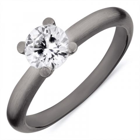 Schön Ring aus schwarzes rhodiniertes Silber