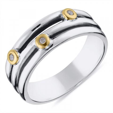 Echten Zirkon Ring aus oxidiertem Sterlingsilber mit 8 Karat Gold