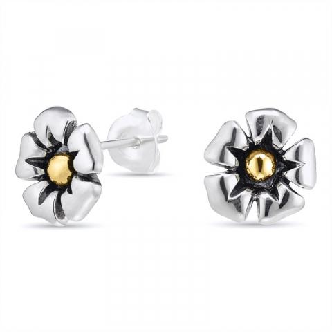 Blumenohrringe in Silber mit 8 Karat Gold