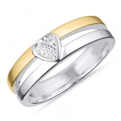 Preiswert Ring aus Silber mit 8 Karat Gold