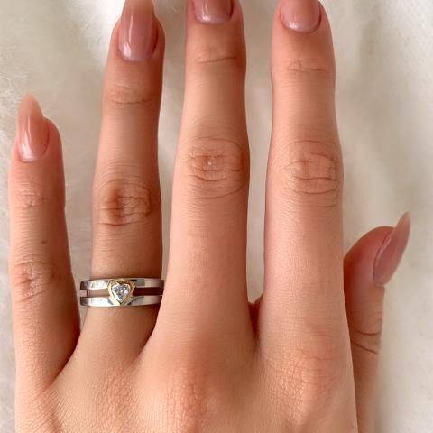 Herz Ring aus Silber mit 8 Karat Gold