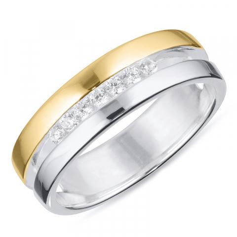 Schön Zirkon Ring aus Silber mit 8 Karat Gold
