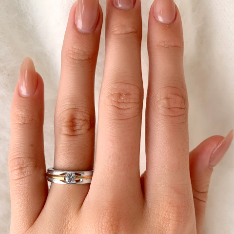 Echten Ring aus Silber mit 8 Karat Gold