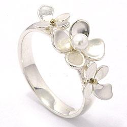 Schön Blumen Perle Ring aus Silber