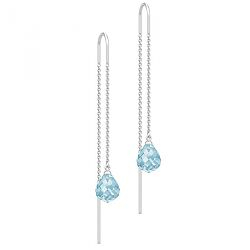 Julie Sandlau lange Bergkristall Ohrringe in Satinrhodiniertes Sterlingsilber blauen Bergkristallen