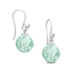 Julie Sandlau grünen Bergkristall Ohrringe in Satinrhodiniertes Sterlingsilber hellgrünen Bergkristallen weißen Zirkonen